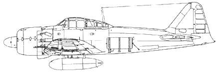 A6M6c Model 52e с дополнительными 140-л топливными баками на фюзеляже