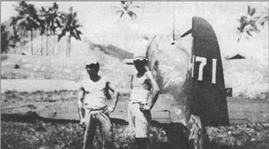 «Зеро» модель 22 неустановленного подразделения. Отчетливо виден бортовой код «6- 171» на вертикальном оперении. Снимок сделан в конце 1943 г. в Рабауле. Во второй половине 1943 г. ни самолетах, которые базировались в Рабауле, произвели замену бортовых кодов с буквенно-цифровых на полностью цифровые.
