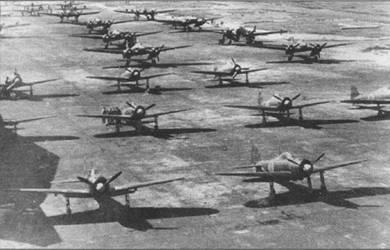 Самолеты 302-го ночного кокутай, авиабаза Лиуги, начало 1945 г. Па вооружении первого хикотай 302-го кокутай состояли «Зеро» модель 52а и модель 52b, второй хикотай был оснащен самолетами J1N3 «Гекко», D4Y2-S»Cauceti» и P1Y1 «Гинга».
