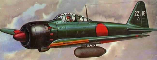 A6M3b Model 52b из 221-го Кокутая, под крыльями самолет несет два 150-л топливных бака, авиабаза Хасанохара, весна 1944 г.