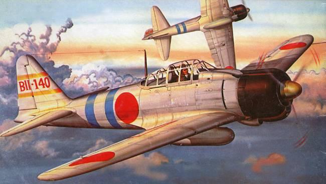 A6M2 Model 21 с авианосца «Хирю» пилотирует Лейтенант Сумио, Индийский океан, апрель 1942 г.