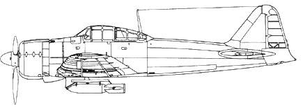 Построен Накадзимой, кок винта длиннее обычного. На внешней подвеске 250-кг бомба.