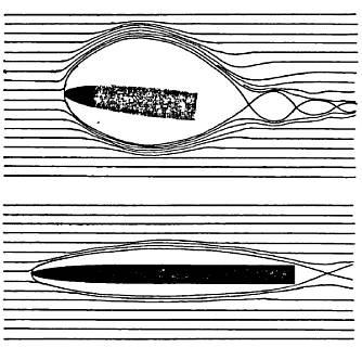 Принцип движения пули в водной среде — видно преимущество большого удлинения и специальной формы головной части пули.