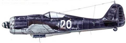 Fw 190A-8/R2 из 1l.(Sturm)/JG 3, Шонгау, Германия, август 1944 г. На фюзеляже и хвосте этого самолета отсутствуют кресты, а верхняя часть его поверхности выкрашена простым, не вполне различимым цветом. Согласно другим источникам, он принадлежал к III./JG 301.