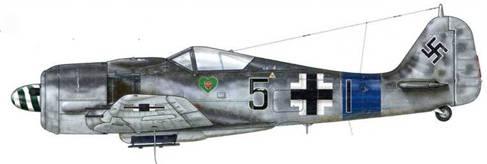 Fw 190A-8 из III./JG 54, Виллакубле, Франция, июнь 1944 г. Эмблема III. Gruppe нанесена на «Зеленое сердце». Эта Gruppe прибыла в Виллакубле 7 июня 1944 г., после того как месяцем ранее была «пересажена» на Fw 190.