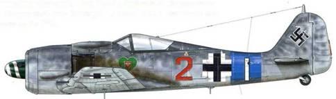 Fw 190A-8 из III./JG 54, Ножен-ле-Руа, Франция, июнь 1944 г. Пилот – Feldwebel Мульдерс. Этот самолет был поврежден и брошен на аэродроме, когда подразделение отходило. III./JG 54 проявила себя как самое эффективное подразделение Люфтваффе после высадки союзников в Нормандии. В течение июля-августа 1944 г. каждый ее пилот совершал по два или три боевых вылета в день, в результате которых авиагруппа одержала в общей сложности 100 побед. Хотя союзники и обладали превосходством в небе, самолеты авиагруппы были хорошо укрыты в лесах вокруг Виллакубле и на протяжении всего лета оставались не тронутыми на земле.