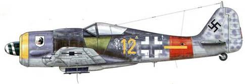 Fw 190A-8 из 6.(Sturm)/JG 300, Эрфурт, Германия, ноябрь 1944 г. Пилот – Unteroffizier Пауль Ликсфельд. Это бывший ночной истребитель, который, вероятно, раньше принадлежал соединению NJGr. 10, был затем переоборудован в Sturmjager. Он имеет некоторые интересные особенности: фронтальное кольцо, выкрашенное частично в желтый цвет, или же бронеплиты по бокам фюзеляжа серо-зеленого цвета – RLM 02. На левой – написан псевдоним.