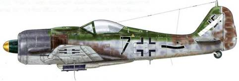 Fw 190А-9 из IV./JG 54, Мюнстер-Хандорф, Германия, май 1945 г. На коке винта этого самолета отсутствует классическая спираль, а вместо нее нанесено желтое пятно. Вероятно, это следствие того, что изначально самолет воевал на Восточном фронте, а затем был переброшен для нужд противовоздушной обороны рейха. Обратите внимание на особую форму маркировки IV. Gruppe, а также на новые оттенки камуфляжной раскраски самолета, введенные для истребителей в 1944 г.: серый цвет – RLM 75 и 76, коричневый – RLM 81 и зеленый – RLM 83.