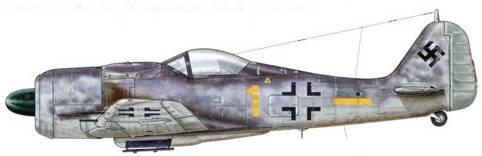 Fw 190А-9 из 6./JG 54, Либау, Германия, февраль 1945 г. Пилот – Hauptmann Хельмут Веттштайн, Staffelkapitan этого подразделения.