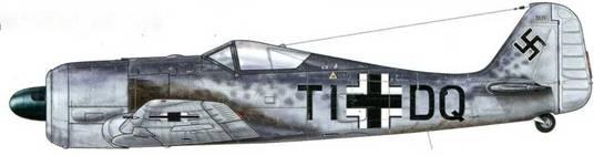 Fw 190A-1 W.Nr. 067. Самолет был построен в июле 1941 г. и имел заводские регистрационные номера, которые обычно заменялись, как только он получал приписку к конкретному подразделению. Камуфляжная раскраска состоит из трех оттенков серого цвета (RLM 76 в нижней части фюзеляжа и крыльев и по бокам, RLM 74 и 75 – на верхних частях) и характерна для самолетов, произведенных на заводе в Мариенбурге. Разделительная линия между оттенками цвета расположена высоко, а пятна «крапа» нанесены до самого хвоста.