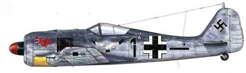 Fw 190A-5 из 5./JG 1, Вунсдрехт, Голландия, май 1943 г. Пилот этого самолета Hauptmann Фриц Дитрих Викоп – Gruppenkommandeur ll./JG 1, был сбит 16 мая 1943 г. самолетом Р-47. В том бою на его счету было два сбитых В-17. На левом борту фюзеляжа можно видеть яркий опознавательный знак – чайку с распахнутыми крыльями, нарисованную его предшественником – «Staka» (Staffelkapitan) Oberleutnant Максом Бухольцем.