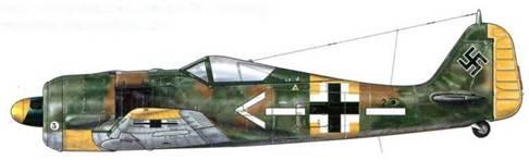 Fw 190А-5 из Stab JG 54, Дорпат, Эстония, июнь 1943 г. Майор Хубертус фон Бонин, пилотировавший эту машину – Kommodore авиасоединения «Grunherz», о чем свидетельствует маркировка на фюзеляже, командовал истребительной авиацией на Ленинградском фронте. Он погиб в воздушном бою над Витебском 15 декабря 1943 г.