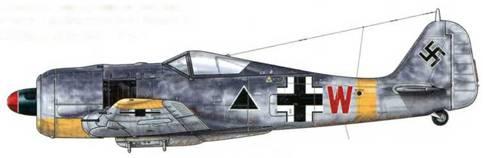 Fw 190А-5 из ll./Sch.G 1, Деблин-Ирена, Польша, начало 1943 г. В этих подразделениях штурмовиков индивидуальная буква, выполненная в цвете, присвоенном эскадрилье (в данном случае красный принадлежал 5-й), заменила стандартный номер, присваиваемый авиакрылу, в то время как черный треугольник указывал на их предназначение. После апреля 1943 г. такая маркировка была отменена.