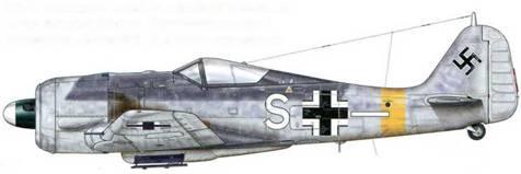 Fw 190А-5 из II./SG 2, Крым, 1944 г. Присвоенный этой эскадрилье цвет использован для нанесения кода на фюзеляж и окончание кока винта.