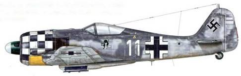 Fw 190 из 1 ./JG 1, Делен, Голландия, август 1943 г. Пилот – Oberleutnant Staffelkapitan Георг «Мурр» Шотт. 27 сентября 1943 г. Шотт был сбит над Северным морем, и помощь не пришла вовремя. К этому моменту на его счету было 20 сбитых самолетов противника. После того как капоты моторов некоторое время красили полностью в белый цвет, в июне 1943 г. капоты самолетов эскадрильи 1 ./JG 1 были перекрашены под «шахматную доску» (в «шашечку»), Тем не менее была сохранена желтая окраска нижней части капота, отличавшая истребители, воевавшие на Западном фронте.