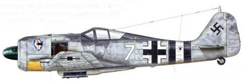 Fw 190 из Sturmstaffel 1, Дортмунд, Германия, 30 января 1944 г. Пилот – Major Эрвин Баксила. Sturmstaffel 1 – ударное подразделение, специализировавшееся на атаках бомбардировщиков противника, вступило в строй в январе 1944 г. и было придано авиагруппе l./JG 1. Оно было укомплектовано специально модифицированными самолетами Fw 190 с усиленными броневой защитой и вооружением. Самолеты, принадлежавшие к Sturmstaffel 1 (в мае 1944 г. переименована в 11 (Sturm)./JG 3), имели на фюзеляже белую и черные полосы, с тем чтобы их можно было быстро отличить от самолетов авиагруппы l./JG 1, которые продолжали обозначаться красной полосой.