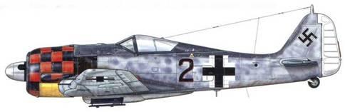 Fw 190А-6 из 2./JG 1, Делен, Голландия, сентябрь 1943 г. Поскольку самолеты авиагруппы I./JG-1 принимали за Р-47, которые также использовали «шашечки» в качестве опознавательной маркировки, в октябре 1943 г. от такой раскраски отказались. Она была заменена на черные и белые полосы (см. стр.42), и использовавшиеся вплоть до февраля 1944 г. Белая окраска хвоста выделяла машину Schy^armfafTrer.