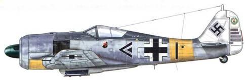 Fw 190А 6 из Stab III./JG 11, Ольденбург (Германия), апрель 1944 г. Пилот – Major Антон «Тони» Хакль – Gruppenkommandeur III./JG 11. К июлю 1944 г. Хакль сбил 192 вражеских самолета, из которых 61 – в Северной Африке, и что особенно важно – 34 четырехмоторных бомбардировщика, что сделало его вторым «Viermottoter» (убийца четырехмоторных самолетов) в Люфтваффе. Белая окраска хвоста являлась обозначением командира подразделения и помогала ему осуществлять перегруппировку. В отличие от того, как показано в данном случае, весь хвост самолета Gruppenkommandeur был окрашен в белый цвет, в то время как у Staffelkapitan он был окрашен в белый только до рулей высоты.