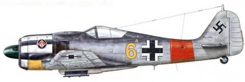 Fw 190А-7 из 3./JG 1, Дортмунд-Бракель, Германия, начало 1944 г. Пилот – Герхард Гайзе был сбит 8 февраля 1944 г., когда его самолет атаковали бомбардировщики ВВС США. Красная полоса на фюзеляже (Rumpfband) была введена для авиагруппы l./JG 1 одновременно с белыми полосами на капоте и хвостовой части самолета. Ее край очень часто совпадал с местом соединения фюзеляжа и хвоста, что объясняет, почему она имеет некоторую кривизну.