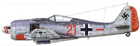 Fw 190А-7 из ll./JG 1, Райне, Германия, октябрь 1943 г. Спираль нанесена на кок винта весьма необычным образом.