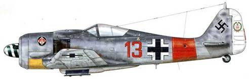 Fw 190A-7 из Stab ll./JG 1, Штёрмеде, Германия, весна 1944 г. Пилотируя этот самолет, носивший его любимый номер («13»), 23 апреля 1944 г. Major Хайнц «Прицл» Бэр, ведя за собой 27 Fw 190, сбил свой 201 -й самолет – Р-47, а затем, тремя минутами позже – В-24 «Liberator». Сбив в общей сложности 221 самолет, 16 из которых – пилотируя Me 262, Бэр был признан восьмым по результативности среди «Experten» (асов) Люфтваффе во время Второй мировой войны.