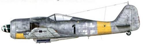 Fw 190А-7 из 2./JG 11, Ротенбург, Германия, март 1944 г. Пилот – Oberleutnant Фриц Энгау.