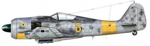 Fw 190А-7 из 3./JG 11, Хузум, Германия, февраль 1944 г. Пилот – Oberfeldwebel Вильгельм Лоренц. 20 февраля 1944 г. он совершил вынужденную посадку под Свенборгом в Дании, после того как сбил В-17. Самолет, который он пилотировал в тот день, нуждался в полной перекраске, возможно, в результате этой аварии. Вероятно, также не хватило времени для завершения нанесения символики государственной принадлежности.