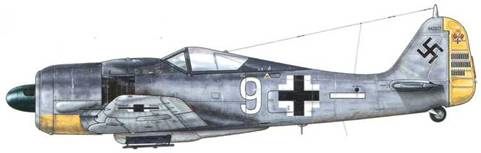 Fw 190A-7 из 5./JG 26, Камбре, Франция, февраль 1944 г. Пилот – Oberfeldwebel Адольф «Адди» Гпунц. Сбивший в общей сложности 71 самолет, 19 из которых – четырехмоторные бомбардировщики, «Адди» Глунц был на редкость удачливым летчиком, сумев пройти всю войну, не будучи ни разу сбитым или раненым в воздушном бою.
