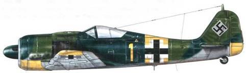 Fw 190А-7 из 3./JG 54, Рига, Латвия, июнь 1944 г. Пилот – Oberleutnant Отто «Бруно» Киттель. 8 апреля 1944 г. Киттель сбил свой 150-й самолет и был повышен в звании до Leutnant. Хотя он и не был очень известен, он тем не менее был четвертым по результативности среди «Experten» (асов) Люфтваффе, одержавшим не менее 267 побед в воздушных боях, большинство из которых – на Восточном фронте. Он был сбит над Курляндией 4 февраля 1945 г.