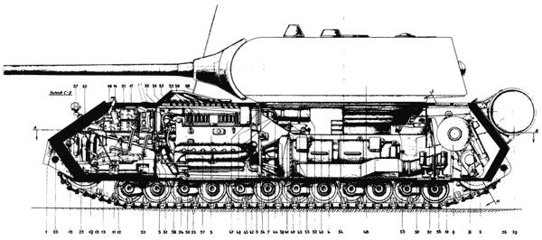 Компоновка танка «Маус» (продольный разрез по корпусу)