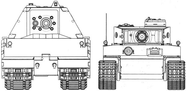 Сравнительные размеры танков Maus и Pz.VIE Tiger