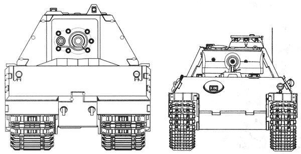 Сравнительные размеры танков Maus и Pz.V Panther