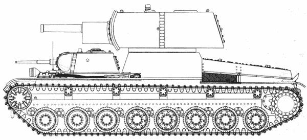 Проект тяжелого танка T-100Z, вооруженного 152-мм гаубицей и 4 5 — мм пушкой