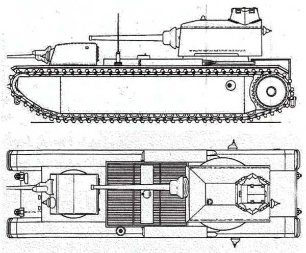 Схема (вверху) и деревянный макет в натуральную величину (внизу) сверхтяжелого танка FCM F1