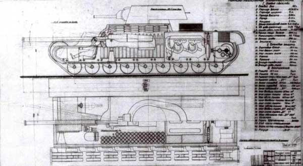 Фотокопии проектных чертежей танка КВ-4. Варианты Н. Шашмурина (вверху) и К.Буганова (внизу)