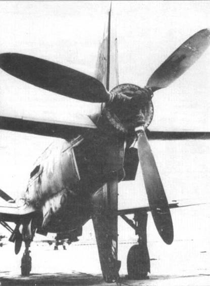 Любопытный снимок Do 335А-02 сзади. С заднего винта снят кок, хорошо видна ступица винта. Обратите внимание на полностью раскрытые выпускные отверстия боковых воздуховодов.