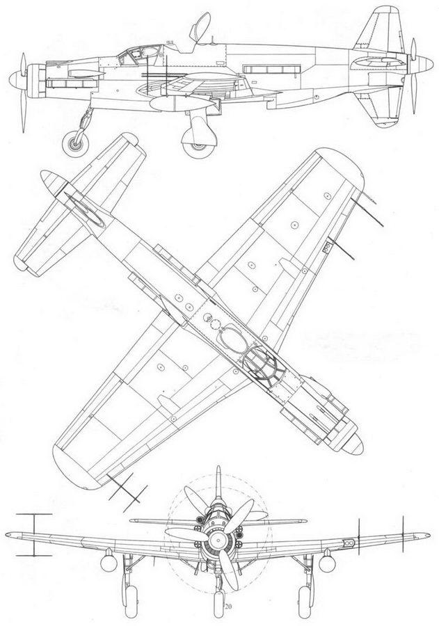 Do 335B-6, ночной истребитель, вид слева, сверху и спереди. Проект, реконструкция.