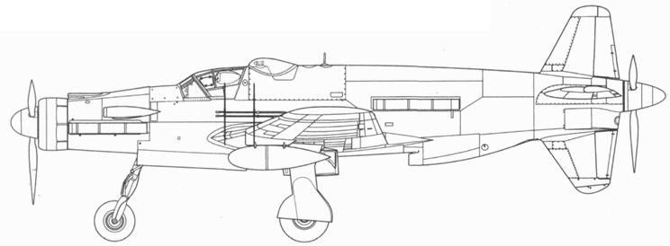 Do 335В-7, вид сбоку, фрагмент крыла. Проект, реконструкция.