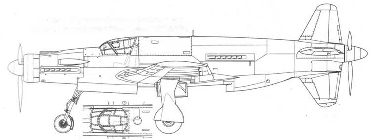 Do 435A-1. Пунктиром указаны кресла пилотов. Проект, реконструкция на базе проекта Р.238/1-01.