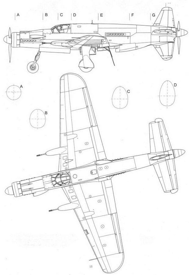 Do 335M13, прототип модификации В-2. На самолете опробованы новые оконцовки крыльев. Вид сбоку и сверху.