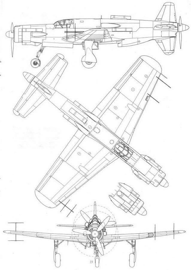Do 435C-1, ночной истребитель с двигателями Jumo 222. Вид сбоку, сверху и спереди, фрагмент носовой части фюзеляжа.