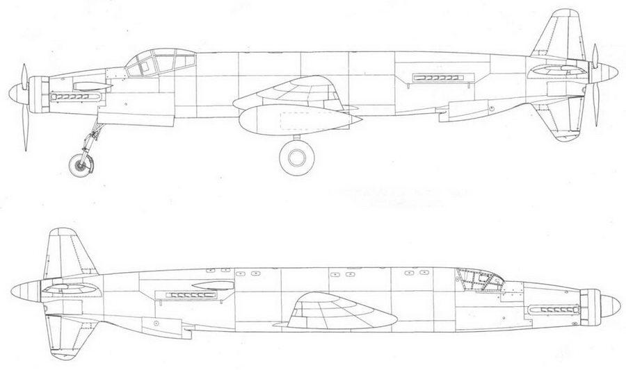 Junkers Ju 635, проект, реконструкция, вид слева и справа.