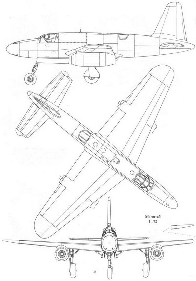 Dornier P.256/1-01, проект реактивного ночного истребителя на базе истребителя Do 335, вид сбоку, сверху и спереди.