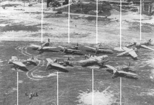 Самолеты, собранные на аэродроме в Оберпфаффенхофене после войны. 1. Do 335М21 (W.Nr. 240317, 17/21). 2. Do 335М18 (W.Nr. 240314, 14/18). 3. Do 335B. 4. Do 335A. 5. Do 335В (вероятно В-6; за кабиной видно темное пятно, возможно это фонарь кабины оператора радара). 6. Do 335А-12 (W.Nr. 240123). 7. Do 335А-12 (W.Nr. 240121). 8. Do 335M11 (W.Nr. 2401318, 18/11). 9. Do 335M19 (W.Nr. 240315, 15/19), один из Do 335B-3.