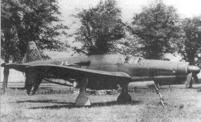 Do 335A-05 (W.Nr. 240005), захваченный в Оберпфаффенхофене. В задней части фюзеляжа видны пулевые пробоины. На самолете нет вооружения.
