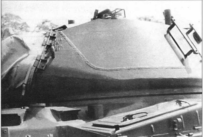Башня танка М41 имела смешанную конструкцию. На фото хорошо виден сварной шов между литой нижней и сварной верхней частью башни