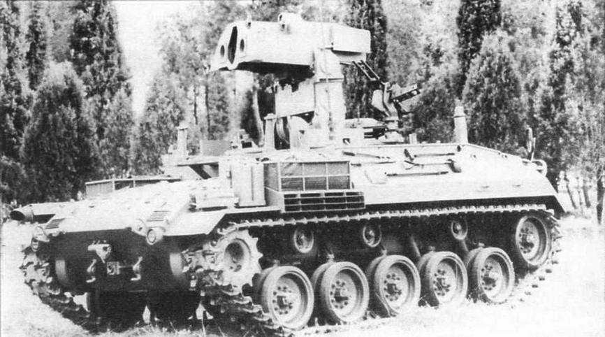 Прототип испанского ПТРК на базе танка М41, вооруженного ПТУР «ТОУ»