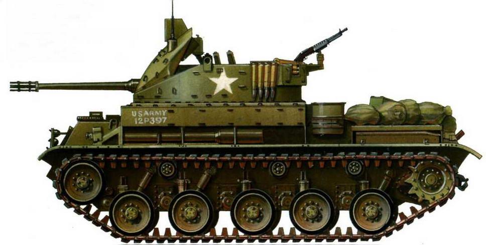 Зенитная самоходная установка М42А1. 1-й батальон 44-го артиллерийского полка армии США. Вьетнам, 1969 г.