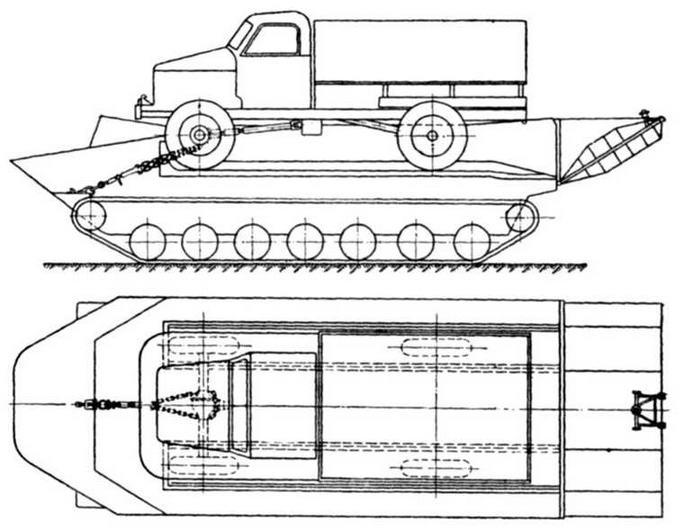 Схема погрузки и крепления автомашины ГАЗ-63 на транспортере