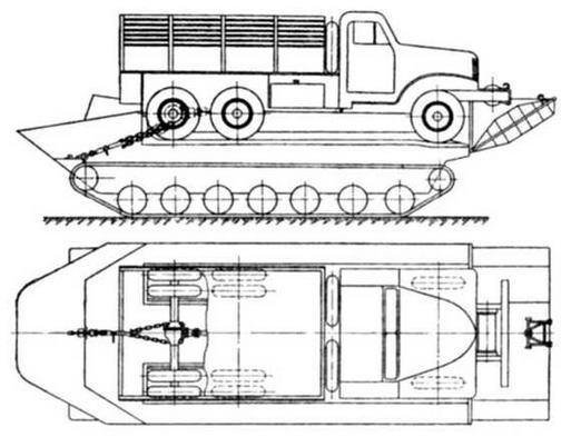Схема погрузки и крепления ЗИС-151 на грузовой платформе транспортера